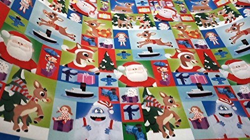Christmas Wrapping Rudolph the Red-Nosed Reindeer Holiday Paper Gift Greetings 1 Roll Design Festive Rudolph Square