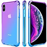 Salawat for iPhone Xs Case, Clear iPhone X Case Cute Gradient Slim Anti Scratch TPU Phone Case Cover Reinforced Corners Shockproof Protective Case for iPhone X/Xs (Purple Blue)