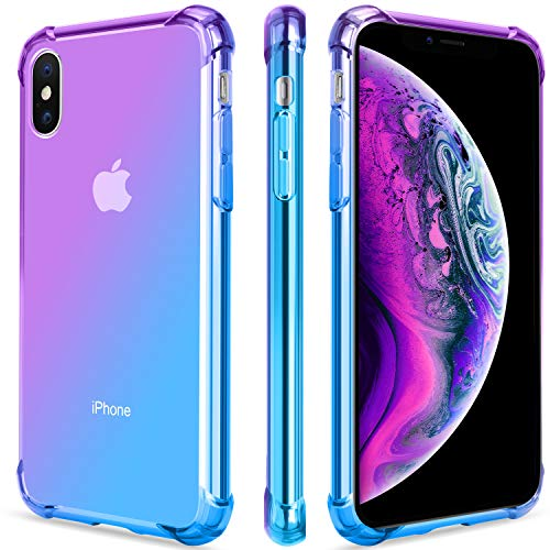 newest ad91e 0484d Salawat for iPhone Xs Case, Clear iPhone X Case Cute Gradient Slim Anti  Scratch TPU Phone Case Cover Reinforced Corners Shockproof Protective Case  for ...