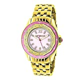 Real Diamond Watch for Women with Pink Bezel and Face Yellow Gold Plated 0.25ct Luxurman Royale