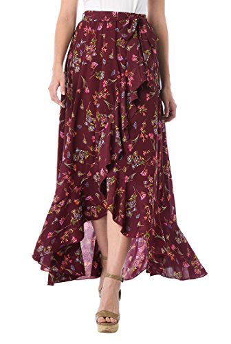 eShakti Women's Ruffle Floral Print Georgette Maxi Skirt 6X-36W Regular Wine red Multi