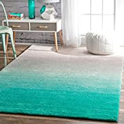 nuLOOM Handmade Soft and Plush Ombre Shag Area Rugs, 8' x 10', Turquoise