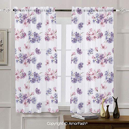 (AmorFash Watercolor Chiffon Window Curtain Panels Kitchen Curtains,2 Panels,Rod Pocket,42x72 Inch Floral Pattern with Wedding Inspired Blossoming Nature Bridal Bouquet )