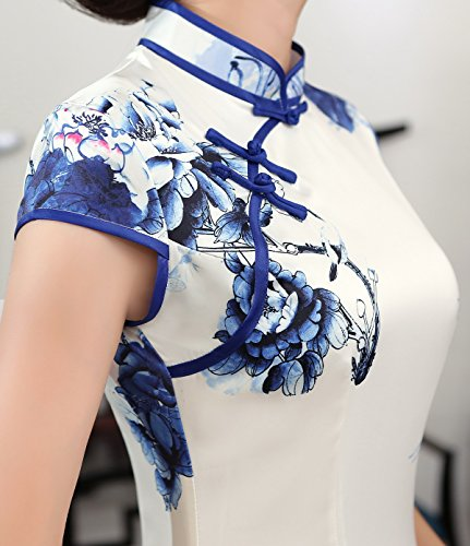 ACVIP Women Cap Sleeve Chinese Paint Floral Maxi Qipao Side Split Cheongsam (China S/Bust:32.3'') by ACVIP (Image #4)