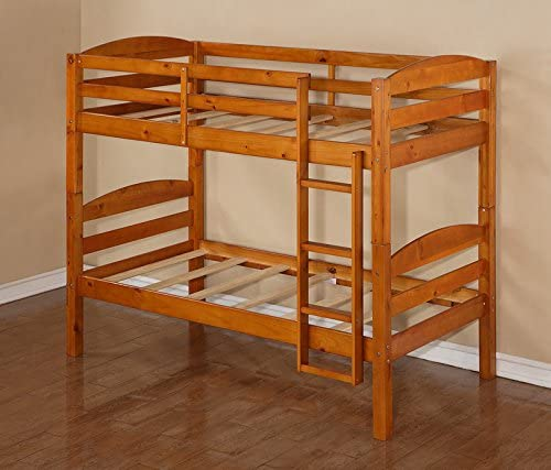 Twin over Twin Solid Wood Bunk Bed, Honey Finish, Perfect for any Style