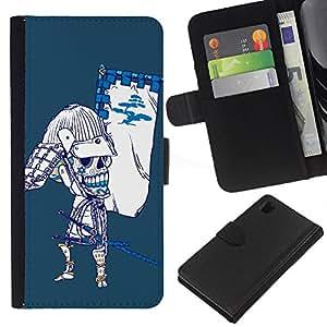 EJOY---La carpeta del tirón la caja de cuero de alta calidad de la PU Caso protector / Sony Xperia Z1 L39 / --Enfriar Azúcar Cráneo japonés Samurai Bow Esqueleto