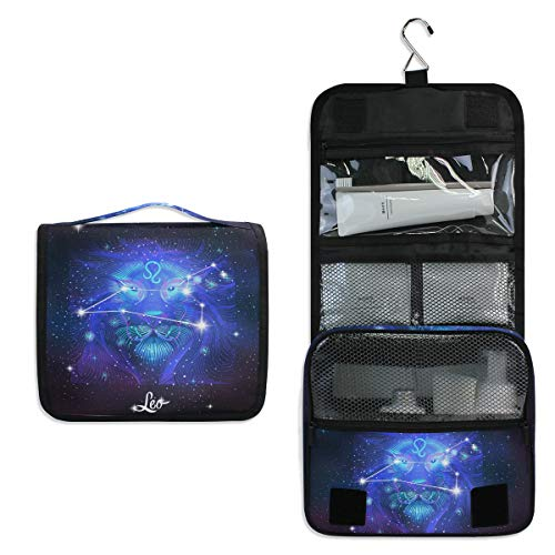Constellation Zodiac Sign Leo Large Hanging Toiletry Bag Waterproof Cosmetic Bag Makeup Travel Pouch Purse Organizer Wash Gargle bag
