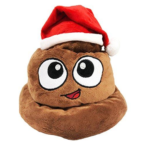 Poop Emoji Hat Santa Poop Emoji Swirl, 12 inches tall by 11 inches wide, Christmas Poop Hat, Poop Emoji Christmas Hat, Emoji Soft Plush Poop Emotion Hat Poop Plush Santa Claus Red Santa Poop Hat ()