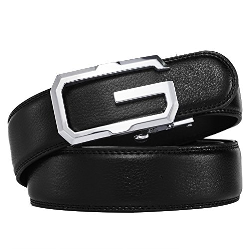3 Slot Belt - Men's belt,Prometheus New Solid Buckle Leather Ratchet Automatic Belt 35mm Wide 1 3/8