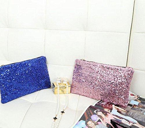 xinyiwei lujo boda fiesta bolsa de embrague brillante con lentejuelas bolso de mano bolso de mano, dorado rosa