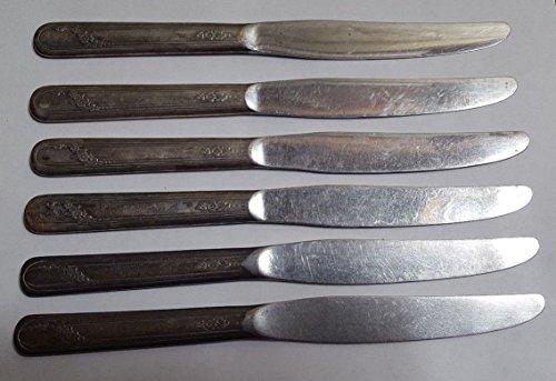 6 ONEIDA Tudor Plate Silverplate Dinner Knives w Stainless Blades