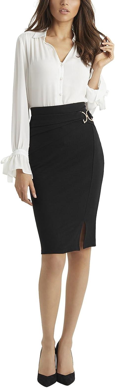 Lipsy Mujer Falda De Tubo con Hebilla Negro 46: Amazon.es: Ropa ...