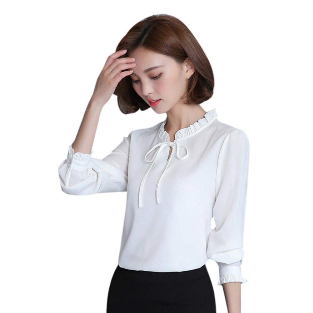 Pervobs Blouses, Big Promotion! Women Casual Long Sleeve Loose Ruffles Solid Chiffon Bow Tie T-Shirt Casual Tops Blouse (S, White)