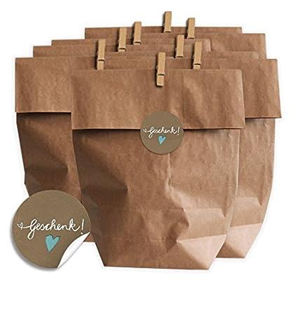 Eine Der Guten Geschenktüten Set Geschenk Mit Blauem Herz Set Für Plätzchen Kekse Und Geschenke Mit 24 Tüten Miniklammern Und