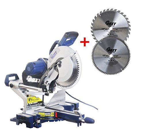 DOIT 12-Inch Dual Bevel Sliding Compound Miter Saw with Laser and LED Work Light,12 inches Combo Saw Blade 2 Pieces 32teeth/80teeth (12 inches)
