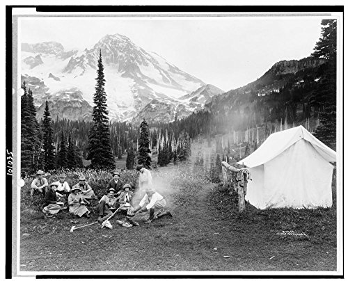 1911 Photo Camping party of men and women cooking at campfire and eating near tent in Indian Henry, Mt. Rainier National Park, Washington] / Curtis & Miller. Location: Mount Rainier National Park, Wa (Best Camping At Mt Rainier)