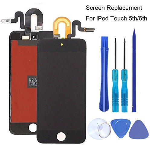 Full Screen Replacement for iPod Touch 5 5th 6 6th LCD Screen The Whole Display Assembly + Repair Tools (iPod Touch 5/6 Black)