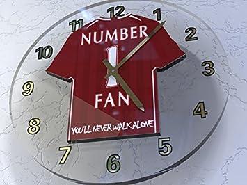 MyShirt123 Liverpool FC Reloj de fútbol - Liverpool FC Número Uno Ventilador Reloj de Pared Cualquier Fan de Liverpool.: Amazon.es: Deportes y aire libre