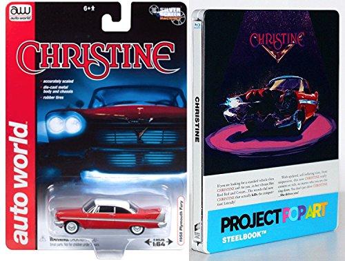 Stephen King Christine 1983 John Carpenter Steelbook Blu Ray + Christine 1958 Plymouth Fury Replica model car Horror Exclusive Movie Popart edition set
