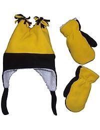 N'Ice Caps Boys Sherpa Lined Micro Fleece 4 Corner Ski Hat and Mitten Set