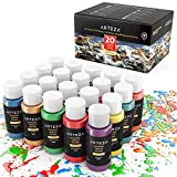 indoor paint colors ARTEZA Outdoor Acrylic Paint, Set of 20 Colors/Tubes (59 ml, 2 oz.) with Storage Box, Rich Pigments, Multi-Surface Paints for Rock, Wood, Fabric, Leather, Paper, Crafts, Canvas and Wall Painting