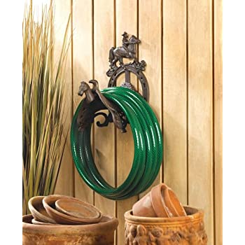 This Item Koehler Home Decorative Cast Iron Cowboy Garden Hose Organizer