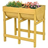 Giantex Raised Wooden V Planter Elevated Vegetable Flower Bed Free Standing Planting Container with Black Liner(Tawny V Planter)