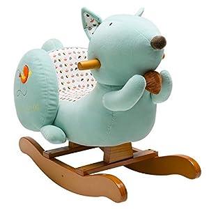 Labebe Child Rocking Horse Toy, Stuffed Animal Rocker Toy, Blue Squirrel Plush Rocker Toy for Kid 1-3 Years, Wooden Rocking Horse/Plush Rocking Toy/Rocking Horse Girl/Boy Rocker/Outside Rocking Horse