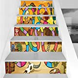Stair Stickers Wall Stickers,6 PCS Self-Adhesive,Board Game,Wild West Concept Country Landscape Cowgirl America Cactus Childrens Nursery Decorative,Multicolor,Stair Riser Decal for Living Room, Hall,
