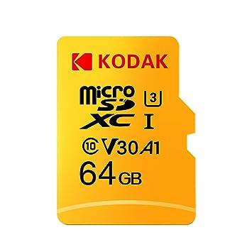 Grborn Tarjeta Kodak Micro SD Tarjeta de 64GB TF Tarjeta de Memoria U3 A1 V30 100 MB/s Velocidad de Lectura 4K Video Record