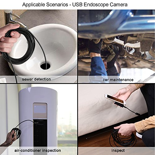 Mousand Endoscope Inspection Camera for Android Iphone HD Snake Camera Waterproof IP67 Wireless WIFI Borescope -Black, Semi-rigid 16.5FT Cable