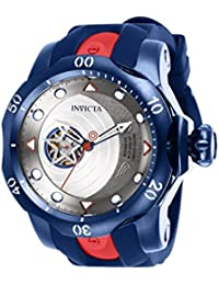 Mens Marvel Automatic Stainless Steel and Silicone Watch, Color:Blue (Model