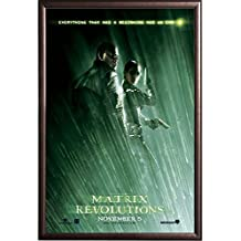 Framed MATRIX REVOLUTIONS - Morpheus & Trinity - MOVIE 27x40 Poster in Rust Finish Wood Frame