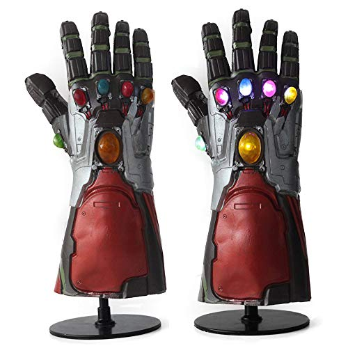 MostaShow Thanos,Hulk,Iron Man Infinity Gauntlet LED Light up Latex Gloves Halloween Party Props (Grey)