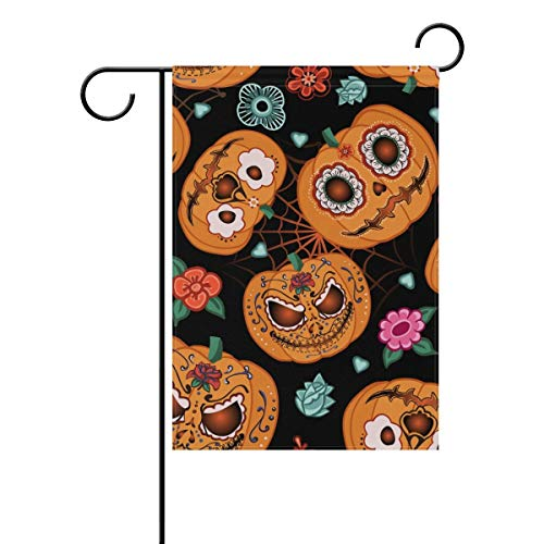 Afagahahs Cartoon Halloween Pumpkin Flowers Spiderweb House Flag
