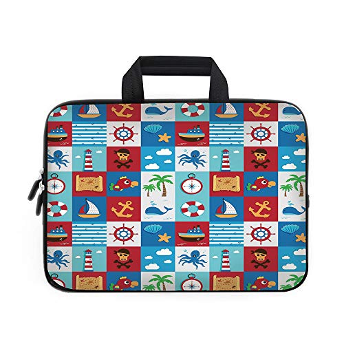 Icon Bag Wheeled Computer (Kids Laptop Carrying Bag Sleeve,Neoprene Sleeve Case/Cartoon Style Nautical Icons and Animals Maritime Sea Life Pirates Joyful Collection Decorative/for Apple Macbook Air Samsung Google Acer HP DELL L)