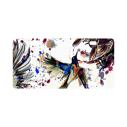 Jesspad Car License Plate Holders, Lily Flowers and Hummingbirds Splashes in Watercolor Painting Automotive,Auto Metal Car Bumper Accessories Tag Cover