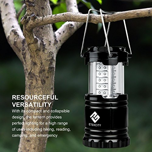 Etekcity 2 Pack Portable LED Camping Lantern Flashlights with 6 AA Batteries Survival Kit for Emergency, Hurricane, Outage (Black, Collapsible) (CL10)