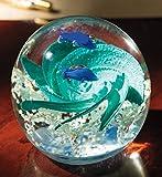 #6: Blown Glass Paperweight - Handmade Glass Globe Ornament, Ocean Themed Art Glass Paper Weight Collectible