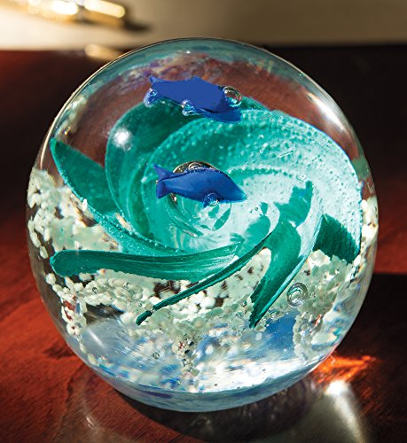 Blown Glass Paperweight - Handmade Glass Globe Ornament, Ocean Themed Art Glass Paper Weight Collectible (Ornaments Glass Collectible)