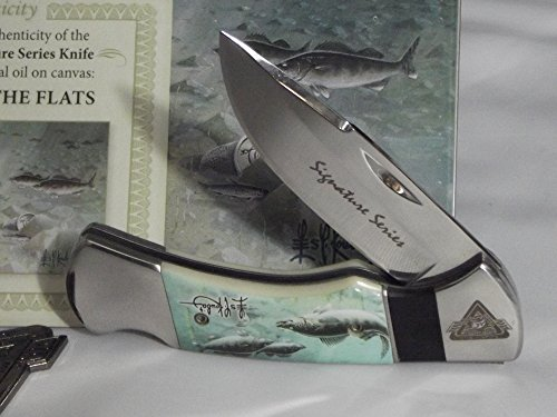 Les Kouba Walleyes Feeding Pocket Knife North American Fishing Logo Etch