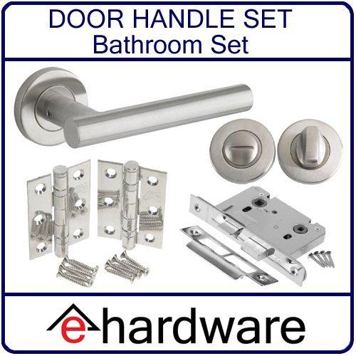 T-Bar Door Handle Lever On Rose - BATHROOM DOOR PACK - SATIN STAINLESS STEEL e-Hardware