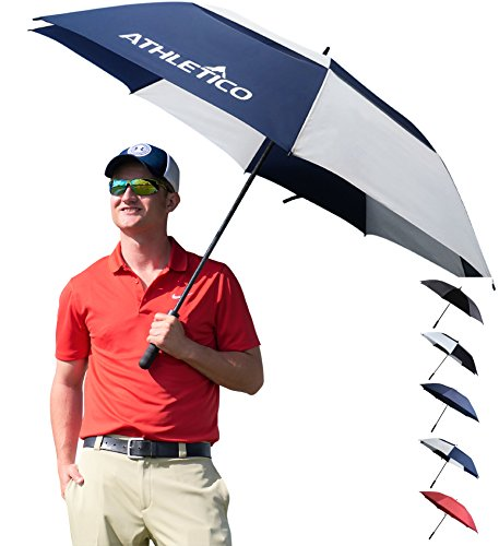 Athletico 68 Inch Automatic Open Golf Umbrella - Extra Large Double Canopy Umbrella is Windproof and Waterproof - Features Ergonomic Rubber Handle (Navy Blue/White, 68 inch)