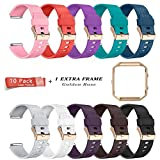 LEEFOX Fitbit Blaze Bands with Frame, Sport Silicone Replacement Strap for Fitbit Blaze Smart Fitness Watch Fit Bit Blaze accessory Wristbands Small,Laser 10 Pack w/ Rose Gold Frame (Proverbs 4:23)