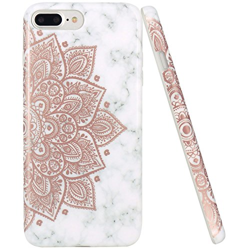 pretty nice 2ad87 44123 JAHOLAN iPhone 7 Plus Case iPhone 8 Plus Case Shiny Rose Gold Mandala  Flower Marble Design Clear Bumper TPU Soft Rubber Silicone Cover Phone Case  for ...