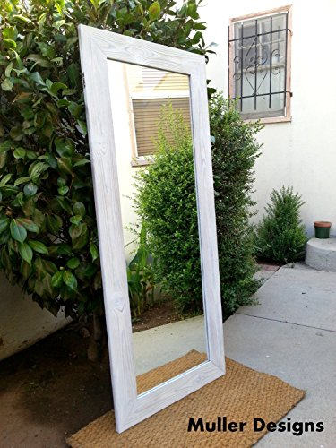Floor mirror, wood mirror, white 53,5x22,5, rustic mirror, mirror, full length mirror