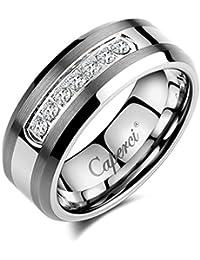 Men's 8mm CZ Diamond Tungsten Carbide Wedding Band Ring