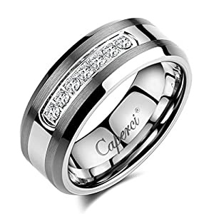 amazoncom caperci mens 8mm cz diamond tungsten carbide wedding band ring jewelry - Amazon Wedding Rings