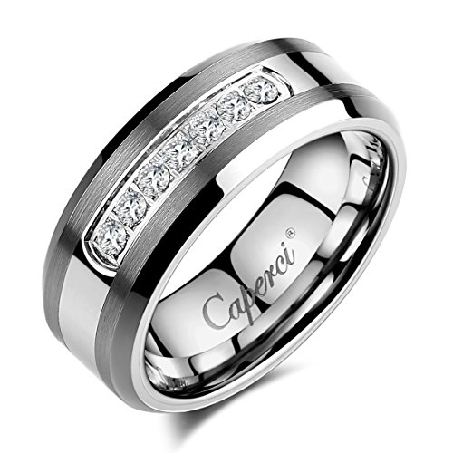 Caperci Men's 8mm CZ Diamond Tungsten Carbide Wedding Band Ring Size 12.5