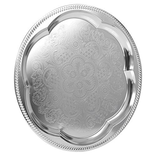 Price comparison product image Silver Effect Polished Round Serving Tray Dinner Platter Tableware Drinks Tea Metal Dinner Dish Plate by EasyDish